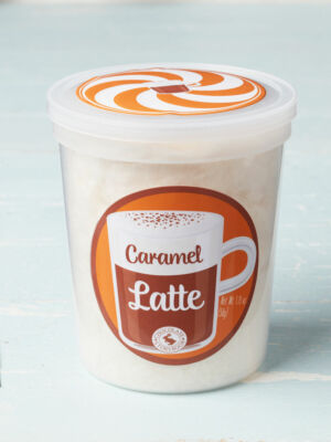 tub of caramel latte cotton candy