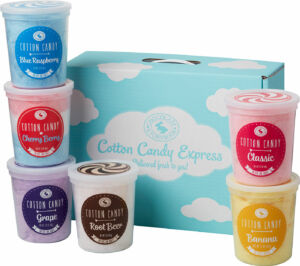 6 tubs of cotton candy in a box. Blue Raspberry, cherry berry, grape, root beer, classic pink, and banana flavors