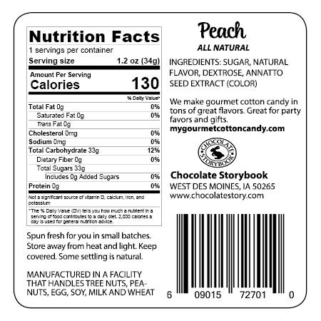 Peach ingredient label