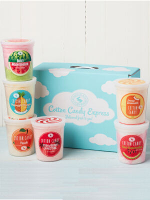box of 6 fruity cotton candy flavors