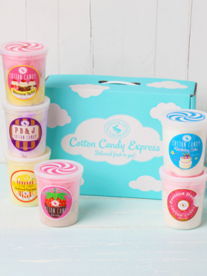 Family Favorites, 6 tubs of cotton candy in a box. Banana Split, PB & J, Buttered Popcorn, Chocolate Strawberry, Birthday Cake, Frosted Donut flavors.