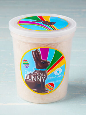 tub of chocolate bunny cotton candy