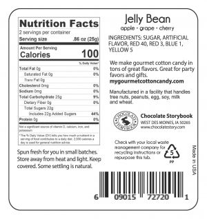 Jelly Bean Ingredient Label