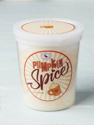Tub of pumpkin spice cotton candy