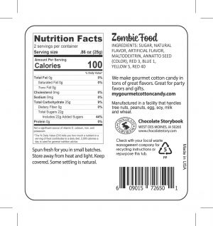 Zombie Food cotton candy nutrition label