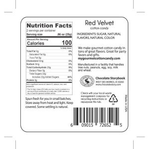 red velvet cake cotton candy nutrition label on back of tub.